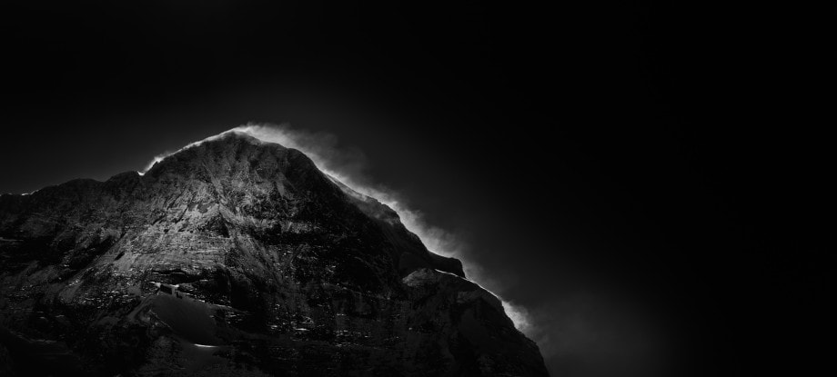black and white landscape of the swiss alps